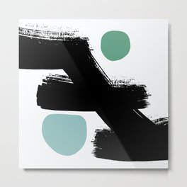 Tokyo Abstraction Black White Mint Metal Print