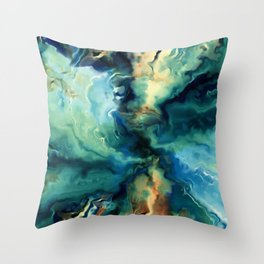 Marbled Ocean Abstract, Navy, Blue, Teal, Green Throw Pillow