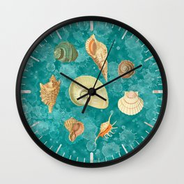 Dancing Shells Turquoise Watercolor Splashes Wall Clock