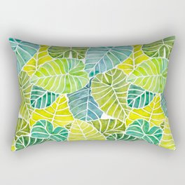 Tropical Leaves Alocasia Elephant Ear Plant Blue Green Rectangular Pillow