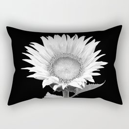 White Sunflower Black Background Rectangular Pillow