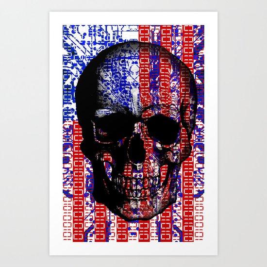 US Skull in a digital circuit. Art Print