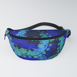 Spring pastels gently pearl and blue circles and ellipses with the image of abstract flowers on a da Fanny Pack