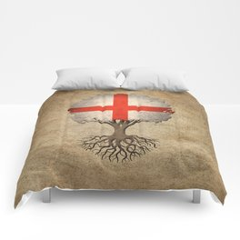 Vintage Tree of Life with Flag of England Comforters