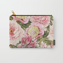 Vintage & Shabby Chic Floral Peony & Lily Flowers Watercolor Pattern Carry-All Pouch