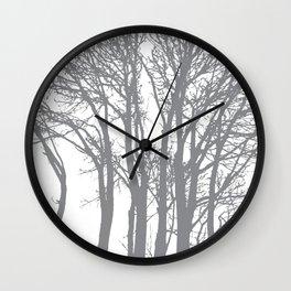 Slate Grey Trees Wall Clock