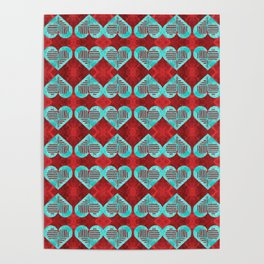 Abstract Turquoise and Bright Red Diamond Hearts Poster