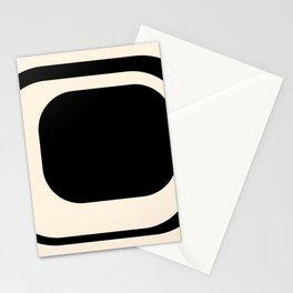 Mod 3 Minimalist Black and Almond Cream Modern Retro Abstract Stationery Cards
