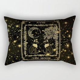 "Tarot ""The moon"" - gold - cat version Rectangular Pillow"