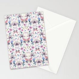 Lilac Butterfly and Flowers Stationery Cards
