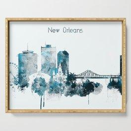 New Orleans Monochrome Blue Skyline Serving Tray