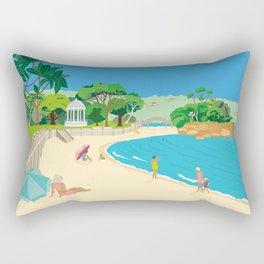 Modern Retro Art Print of Balmoral Beach, Sydney, Australia Rectangular Pillow
