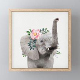 Baby Elephant with Flower Crown Framed Mini Art Print