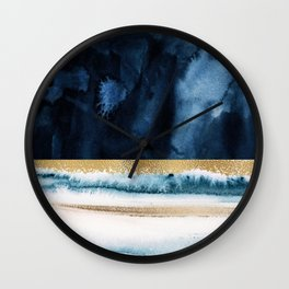 Navy Blue, Gold And White Abstract Watercolor Art Wall Clock