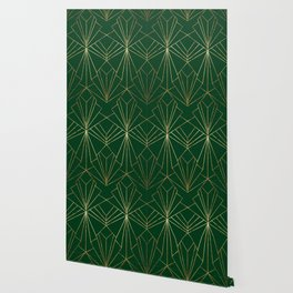 Art Deco in Gold & Green Wallpaper