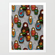 Matryoshki pattern Art Print