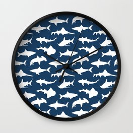 Sharks on Regal Blue Wall Clock