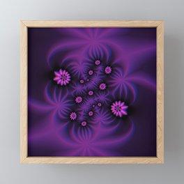 Berry Colored Fractal Flowers Framed Mini Art Print