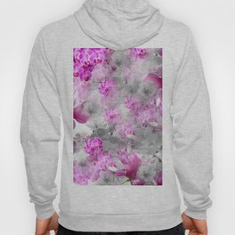 CHERRY BLOSSOMS ORCHIDS AND MAGNOLIA IMPRESSIONS IN PINK GRAY AND WHITE Hoody
