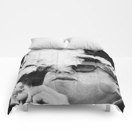 Cigar Smoker Cigar Lover JFK Gifts Black And White Photo Comforters