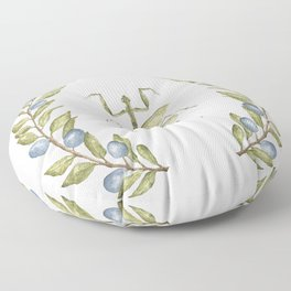Praying Mantis Botanical in Olive Branches Floor Pillow
