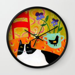 Tuxedo Cat on the Table with Black Bird planter Wall Clock