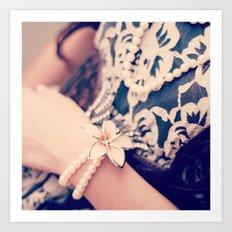 Girl, Vintage, Pearls  Art Print
