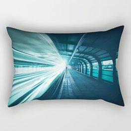 Railroad Tunnel Blue Rectangular Pillow