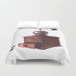 Vintage Coffee Mill Watercolor Duvet Cover