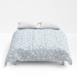 Block Printed Dusty Blue and White Stars Comforters