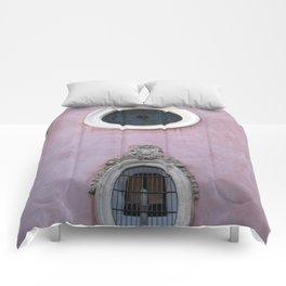 Pink Spanish Facade Comforters