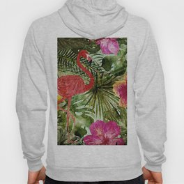 Tropical Vintage Exotic Jungle- Floral and Flamingo watercolor pattern Hoody