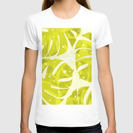 Lime Green Monstera Leaves Light Background #decor #society6 #buyart T-shirt