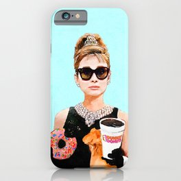 Breakfast at Dunkin Donuts - Audrey Hepburn iPhone Case