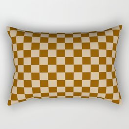 Tan Brown and Chocolate Brown Checkerboard Rectangular Pillow