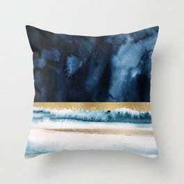 Navy Blue, Gold And White Abstract Watercolor Art Throw Pillow