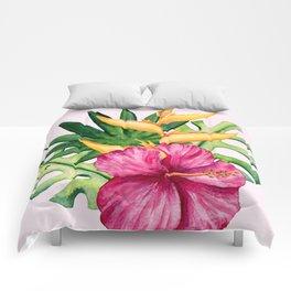 Tropical Hibiscus Summer Bouquet Comforters