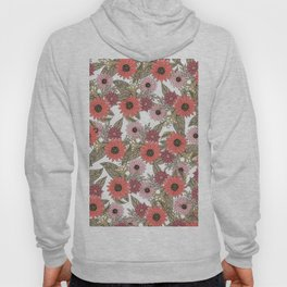 Girly blush pink coral gold modern floral Hoody
