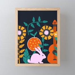 Music and a little rabbit Framed Mini Art Print