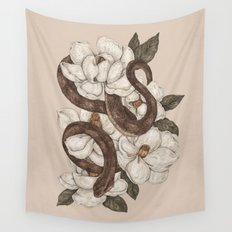 Snake and Magnolias Wall Tapestry