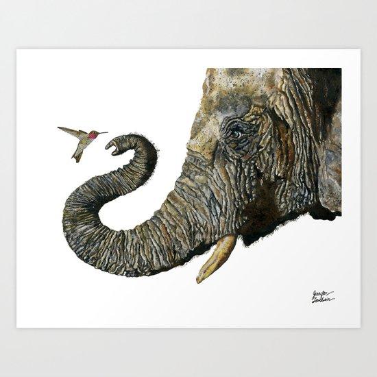 Elephant Cyril And Hummingbird Ayre 2 Art Print