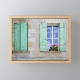 Window Shutters Open and Closed Framed Mini Art Print