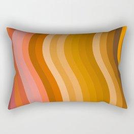 Groovy Wavy Lines in Retro 70s Colors Rectangular Pillow