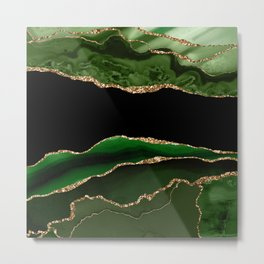 Emerald Marble Glamour Landscapes Metal Print