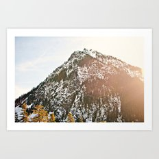 Snowy Mountain Peak in the Sun Art Print