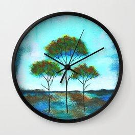 Blessings, Skinny Trees Rustic Art Wall Clock
