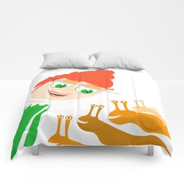 girl and snails Comforters