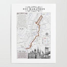 New York City Black & White {marathon course} map 26.2 Poster