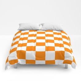 Checkered - White and Orange Comforters