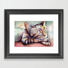 Sleeping Kitten Watercolor Cat Whimsical Cats Framed Art Print